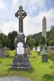 Celtic cemetery and a round tower Royalty Free Stock Images
