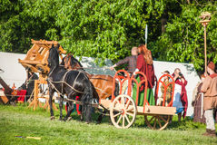Celtic chariot in historical reenactment of Boudica's rebellion Stock Photos