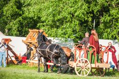 Celtic chariot in historical reenactment of Stock Image