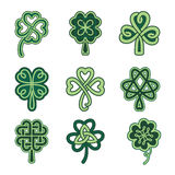Celtic clover patterns. Holiday symbols on a white background Royalty Free Stock Image