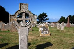 Celtic Cross. A Celtic cross in the graveyard of the St Andrew's church in Chale (Isle of Wight, England stock photo