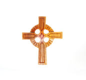 Celtic Cross. A Wooden Celtic Cross on a white background royalty free stock photo