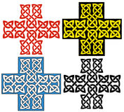 Celtic cross. Cross decorated with celtic knots ornament. The cross comes in four variations Royalty Free Stock Photography