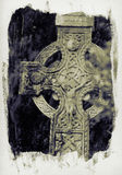 Celtic cross. Irish celtic cross on waterbased paper affect royalty free stock photography