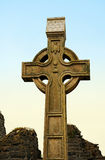 Celtic cross. On the Abbey graveyard, historic town in Donegal, ireland, located at the waters edge of Donegal harbour. Ireland royalty free stock image