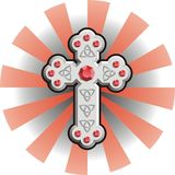 Celtic Cross. Embedded with red jewels on background Stock Image
