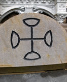 CELTIC CROSS. Etched in stone. Ireland Stock Image