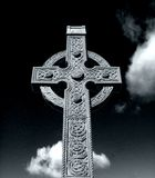 Celtic Cross. Black and white portait of a historic Celtic Cross royalty free stock images