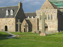Celtic Cross And Iona Abbey Stock Image