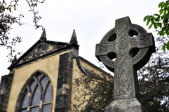 Celtic cross. As gravestone on a graveyard, photo taken in Edinburgh royalty free stock photos