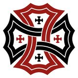 Celtic cross in black and red on isolated white background. Abstract illustration of an celtic symbol stock illustration