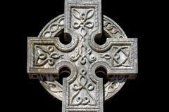 Celtic cross cemetery on black Stock Image