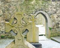 Celtic Cross in Church Ruins Stock Photo