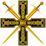 Celtic cross with gold swords. Royalty Free Stock Image