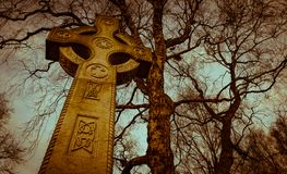 Celtic cross gravestone. Vintage coloured Celtic cross gravestone and tree branch silhouette spooky cemetery Stock Images