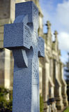 Celtic Cross Headstone in front of a Scottish Chapel. A celtic cross grave marker sits in focus in front of a chapel in the Scottish countryside, near County Royalty Free Stock Image