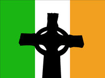 Celtic cross and Irish flag Royalty Free Stock Images
