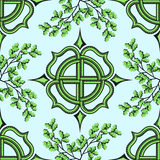 Celtic cross and oak branches. Royalty Free Stock Photography