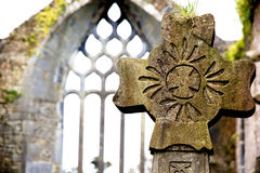 Celtic cross. Within the ruins of an old church in Milltown (co Kerry, Ireland royalty free stock photography