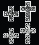 Celtic cross - set of traditional designs in white on black Royalty Free Stock Image