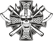 Celtic cross and  skull. Celtic cross with crossed axes and  skull Stock Photo