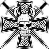 Celtic cross and skull. Celtic cross with crossed swords and skull Vector Illustration