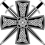 Celtic cross and swords. Celtic cross with the crossed swords Royalty Free Stock Photo