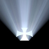 Cross symbol bright light halo. Isolated cross mark shining with powerful white light flare. Holy light from the cross stock illustration