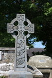 Celtic Cross, They Will be Done, Ireland. Ornate gravestone in a graveyard in the Dingle Peninsula quotes the words of Jesus as He faced death. Recorded in the stock image