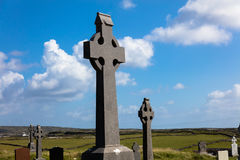 Celtic crosses in cemetery Royalty Free Stock Images
