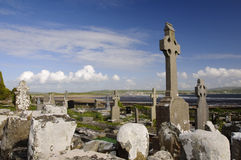 Celtic crosses by the ocean. Burial site in the west of ireland by the sea Royalty Free Stock Image