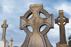 Celtic crosses over blue sky Royalty Free Stock Photos