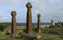 Celtic crosses, Saint Brides Churchyard, Pembrokeshire coast. Royalty Free Stock Photo