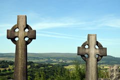 Celtic Crosses - Scottish Cemetery. Celtic/Gaelic crosses gravestones at the Stirling cemetery, Scotland Royalty Free Stock Images