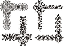 Celtic decorative knot corners. Black and white vector decorations Stock Image