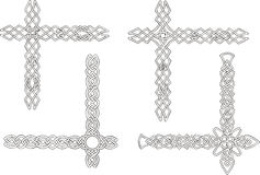 Celtic decorative knot corners. Black and white vector decorations Royalty Free Stock Image