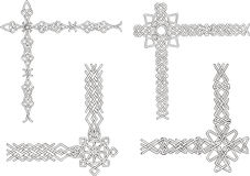 Celtic decorative knot corners. Black and white vector decorations Stock Photo