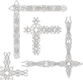 Celtic decorative knot corners. Black and white vector decorations Stock Photos