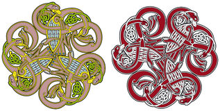 Celtic design element with birds and animals Royalty Free Stock Photography
