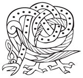 Celtic design with knotted lines of a bird Royalty Free Stock Photography