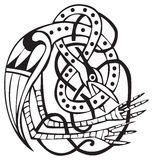 Celtic design with knotted lines of a bird Stock Photography