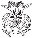 Celtic design with knotted lines of two dove birds Stock Images