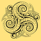 Celtic disk ornament with triple spiral symbol, white and black vector. Stock Photos