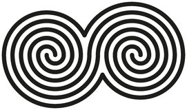 Celtic Double Spirals. White and black double spirals are forming a celtic symbol Royalty Free Stock Images