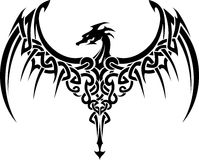 Celtic Dragon Tattoo. Abstract Celtic designed wing span of the dragon Stock Images