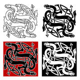 Celtic dragons pattern with tribal elements Royalty Free Stock Photography