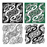 Celtic dragons with tribal entwined wings. Abstract celtic dragons with tribal stylized entwined wings and long tails on white, green and black backgrounds for Royalty Free Stock Images