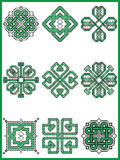 Celtic endless decorative knots selection in black and green cross stitch pattern  inspired by Irish St Patrick`s day Stock Photography