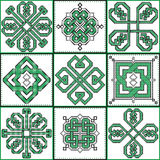 Celtic endless decorative knots selection in black and green cross stitch 9 patterns in the ceramic tile form Royalty Free Stock Photography
