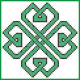 Celtic  endless knot in clover with hearts elements  shape in black and green Royalty Free Stock Photos
